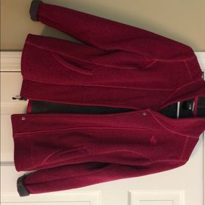 North Face berry fleece lined shawl collar